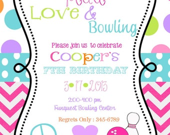 Bowling- party-Peace Love Party Birthday invitations with envelopes--any colors
