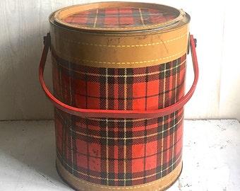 Skotch Metal Cooler Red Plaid Tan Trim Mid Century Picnic Great Display Retro Cooler