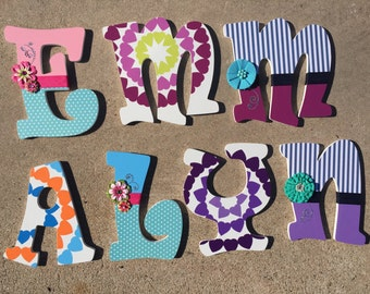 Girly Wooden Letters, Vintage Letters, Custom Letters, Letters for Girls, Wooden Decor, Wood Letters, Paitned Letters, girls Room Decor