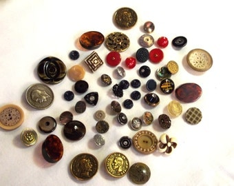 Vintage Button Lot - Victorian Picture Buttons - Glass Buttons - Bakelite Buttons - Sewing Supplies - Crafting Supplies - Vintage Sewing