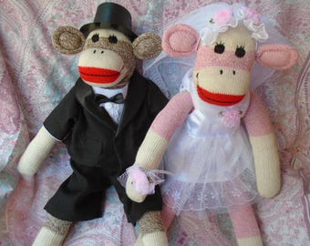 Wedding Groom Brown  Red Heel Sock Monkey Doll InTop  Hat Suit And Tails