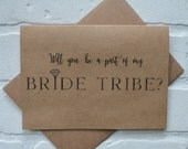 BRIDE TRIBE will you be my BRIDESMAID card bridal cards bridesmaid cards kraft wedding be my bridesmaid card funny bridal tribe card wedding