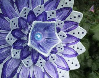 Glass Plate Flower Garden Art - Outdoor Garden Decorations - Hand Painted in Blue Pearl & Purple  - Garden Decor, Garden Sculpture