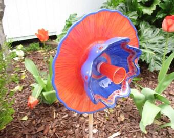 On Fire Red Orange & Cobalt Blue - Garden Decor, Glass Garden Art with Repurposed Glass, Vintage Garden Decor, suncatcher