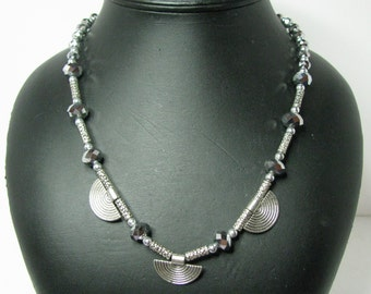 Silver Crystal and Silver Fan Beaded Necklace with Silver Tube Beads - Item 372