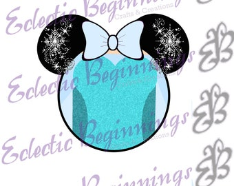 Disney Digital File, DIY Print Iron On-Disney Princess Elsa Minnie Mouse Ears JPG File