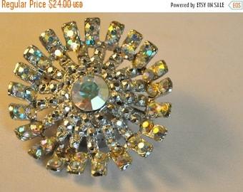 ON SALE Vintage Aurora Borealis Crystals Brooch - Elegant
