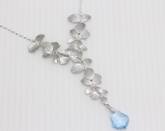 Silver Orchid Crystal Teardrop Necklace, Swarovski Teardrop Orchid Necklace, Bridal Party, Bridesmaid Jewelry, Wedding Jewelry, Christmas