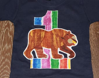 Large Brown Bear Birthday shirt - Boy or Girl - 12- 18 months - Ready to ship