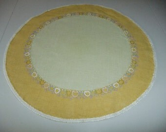 Vintage Swedish 1960s hand embroidered round linen tablecloth - Tulips in a ring
