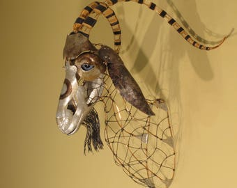 Faux Taxidermy Goat Sculpture by Steve Eichenberger, wall sculpture, Hammer Formed Aluminum, copper wire