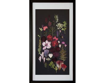 Framed pressed flowers collage Botanical art Herbarium artwork Home Decor to Frame Painting flowers One of a kind Wall decor Dry flower