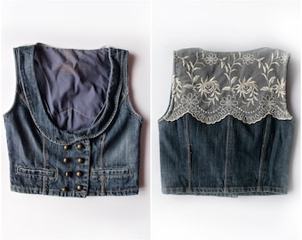Upcycled Denim Vest with Floral Lace Back - Sz XS