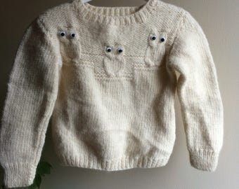 Vintage hand knit owl sweater 24 months 2T