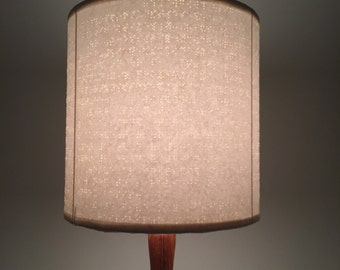 Braille lamp, lacquered white braille paper lampshade - repurposed design
