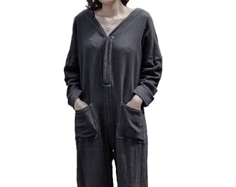 Women Jumpsuits Vintage Jumpsuit Linen Pants Long Overalls Simple One Pieces