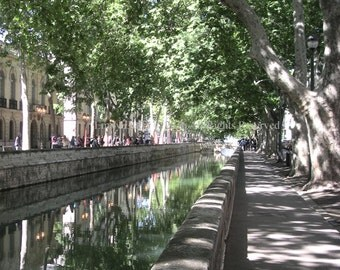 Original Photograph (Matted): Waterway - Nimes, France