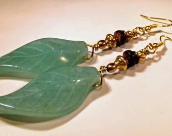 Earrings Handmade Huge Bold Genuine Agate Carved Green Leaves Wood and Brass Beads Long Boho Exotic