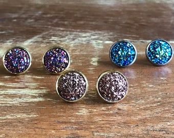 Druzy studs / druzy earrings / galaxy earrings / crystal boho studs