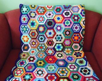 Crochet Blanket, Afgan Blanket, Crochet Throw, Multicolour Crochet Blanket, Granny Square Blanket