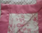 Baby Blanket Handmade Pink Toile Nursery Rhymes and Rosebuds Reversible Baby Girl Shower Gift Nursery Lap Blanket Photo Prop Receiving