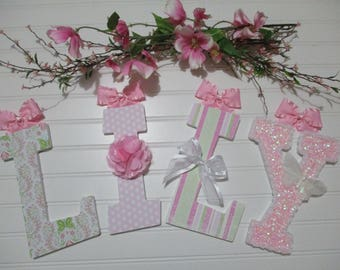 "LILY - 12.00 PER LETTER, 8-1/2"", pink sparkly, white butterfly, pink ruffly ribbon, dainty trim, pink silky flower, butterfly nursery"
