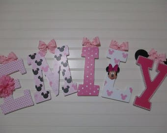 "EMILY - 12.00 PER LETTER, 8-1/2""  wooden nursery letters, Minnie Mouse nursery, pink Minnie Mouse, Minnie Mouse"