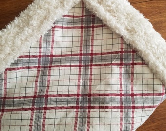 Plaid Wool Carseat Blanket Crib Blanket Girl Boy Minky Blanket