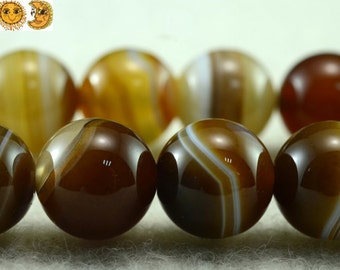 15 inch strand of natural Brown striped agate smooth round beads 6mm 8mm 10mm & 12mm for choose