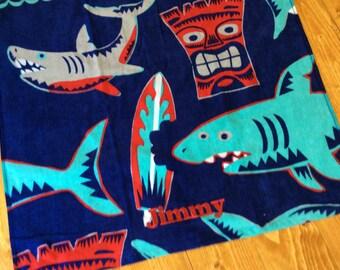 Shark Personalized Beach Towel, Shark Towel, Shark Bathroom, Shark Birthday, Shark Decor, Shark Gift, Shark Decor, Birthday Gift, Pool Party