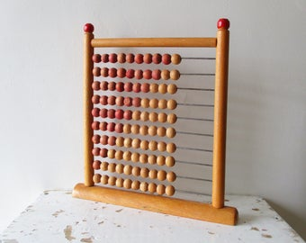 Vintage french wooden abacus, 1970, Wood toy, Boulier, School, France, Jouet