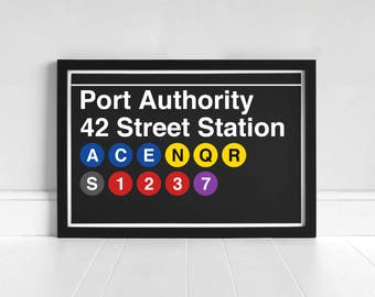 Port Authority 42 Street Station - New York Subway Sign - Art Print