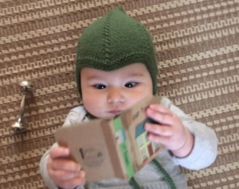Norwegian-Style Baby Hat/Bonnet with I-Cord Ties///You Choose the Size & Color///MADE TO ORDER