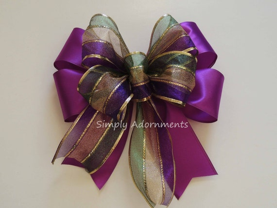 Mardi Gras Wreath Bow Mardi Gras Lantern Bow New Orleans swag door Bow Purple Gold Green Wedding Pew Bow Mardi Gras Handmade Gift Topper Bow