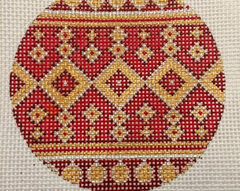 "Hand Painted Needlepoint Canvas Red and Gold 13 Count Canvas 4"" Ornament"