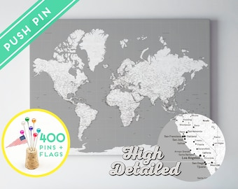 World Map Canvas Push Pin Rustic White and Grey - Ready to Hang - High Detailed - 240 Pins + 198 World Flag Sticker Pack Included