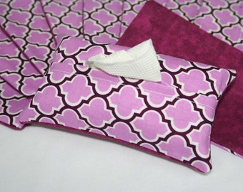 Set of 10 Lavender Lattice Print Travel Tissue Holder, Tissue Cozy, Tissue Pouch