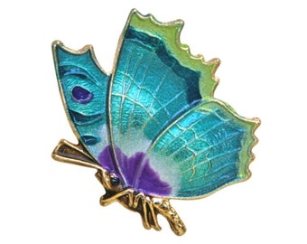 Butterfly 1 inch ( 25 mm ) Susan Clarke Teal Magenta Metal Button