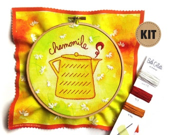 DIY Crafts, Embroidery Kit, Chamomile Tea Art, Cheerful Kitchen Wall Art, Yellow Spring Decor, Hand Embroidery Pattern, Hoop Art, Stitch Kit
