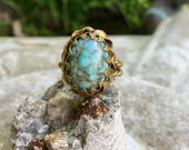 Turquoise Aqua Ring 1940 Czech Filigree Renaissance Wedding Vintage Bride Statement Cocktail Ring