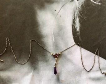 Georgian Paste Necklace, Amethyst Purple 800 Silver Lavailer
