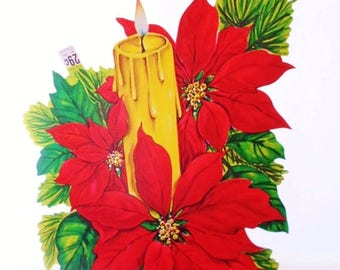 ON SALE Vintage Christmas Die Cut Pointsettia, Candle, Cardboard Christmas Decoration, Carrington, Made In USA, Colorful, Holiday