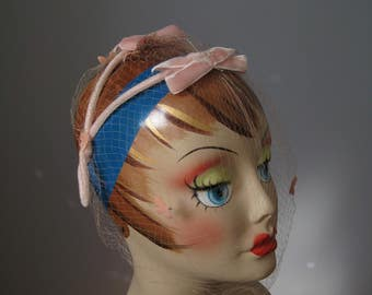 Pink Velvet Headband / Vtg 60s / Pink Velvet Headband with Net and little doves