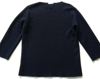 Boiled Wool Navy Minimalist Top Italy