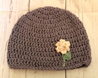Women's winter hat -pink rose hat - purple flower beanie - Ready To Ship -one of a kind art hat