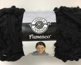 Flamenco Midnight Black Pom Pom Ruffle Yarn Loops & Threads Michaels Brand Scarf Novelty Specialty Discontinued