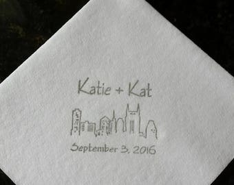 500 Personalized Wedding Napkins, Cocktail, Cake Napkins, Soft Linen-Like Paper, Hand-Stamped