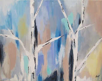 Birch trees abstract ORIGINAL 18X24 inch acrylic painting, blue, purple, green