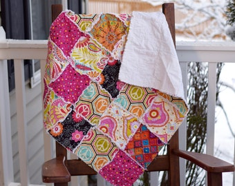 Baby Rag Quilt- Ready to ship Rag Quilt, Pink rag quilt, Blue rag quilt, , one of a kind baby quilt, baby shower gift, unique rag quilt