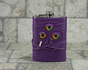 Monster Flask With Face 8 Ounce Purple Leather Goth Horror Groomsman Gift One Of A Kind